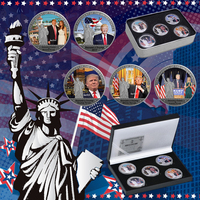 WR 5pcs Silver Coin Famous US President Donald Trump Metal Coin with Free Gift Box Home Office Decoration Best Birthday Idea