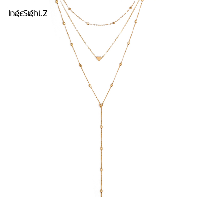 Ingesight.Z Classic 3pcs Heart Pendant Choker Necklace Set Zinc Alloy Beads Chai