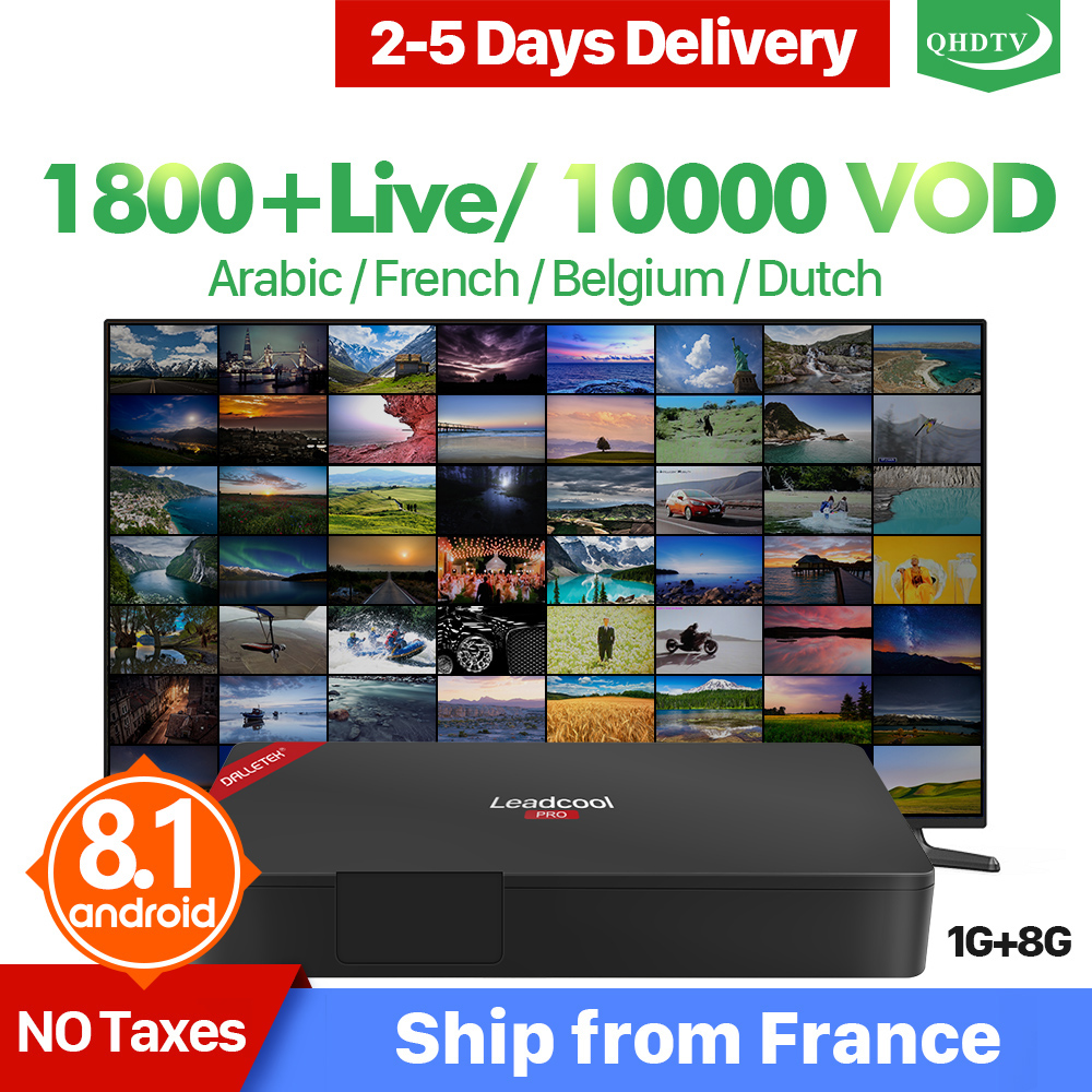 IPTV Arabic QHDTV 1 Year IP TV Box Leadcool Pro Android 8 1 OS RK3229 France