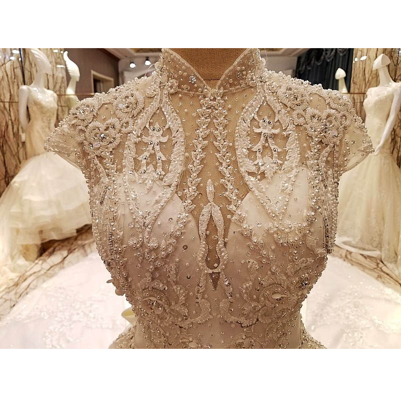 100 Real Photos Amazing Luxury Royal Long Train Crystal Beading Appliques Wedding Dress Hot Sale 2017 High Neck Bridal Gowns in Wedding Dresses from Weddings Events