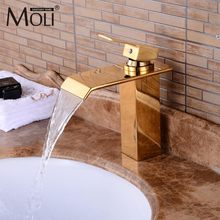 Luxury Gold Bathroom Sink Faucet Waterfall Basin Mixer Tap Hot and Cold Water Tall Faucets luxury led light waterfall basin sink faucet tap dual handle widespread bathroom tub sink mixer with hot and cold water