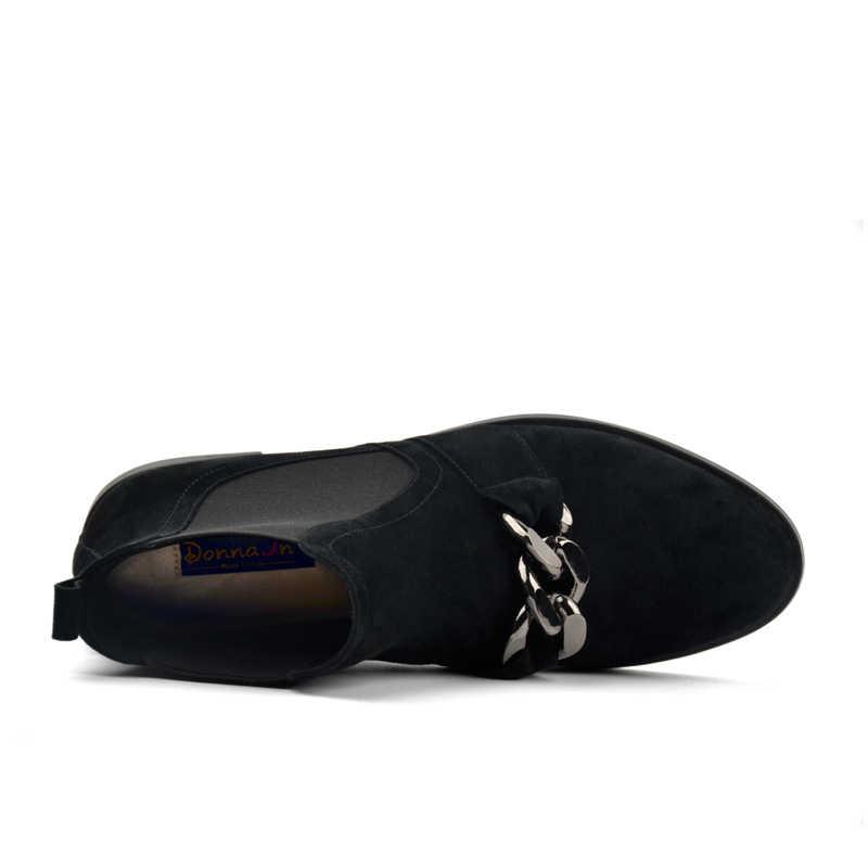 cdb2cfa0c ... Donna-в Ботинки Челси Женские ботильоны из натуральной кожи с  металлическими цепочками из натуральной замши ...