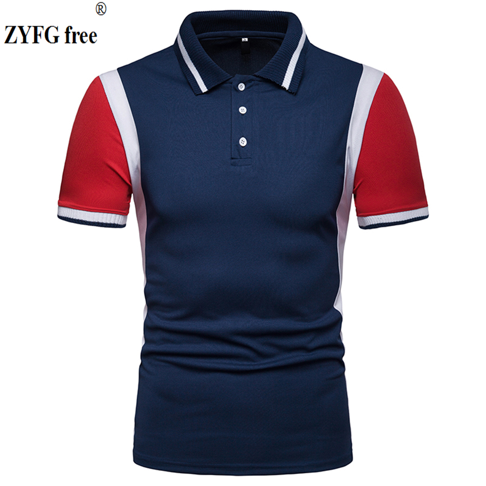 2019 summer casual men's   POLO   shirts stitching turn-down collar slim cotton polyester blend   Polo   shirt men's   Polo   blouse