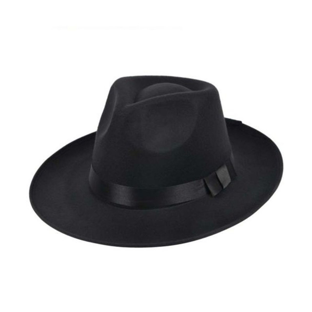 e983af995 US $4.2 23% OFF|LNRRABC Winter Vintage Men Women Felt Hat Wide Brim Fedora  Trilby Panama Hat Gangster Cap Pure Color Jazz Hat With Ribbon -in Fedoras  ...