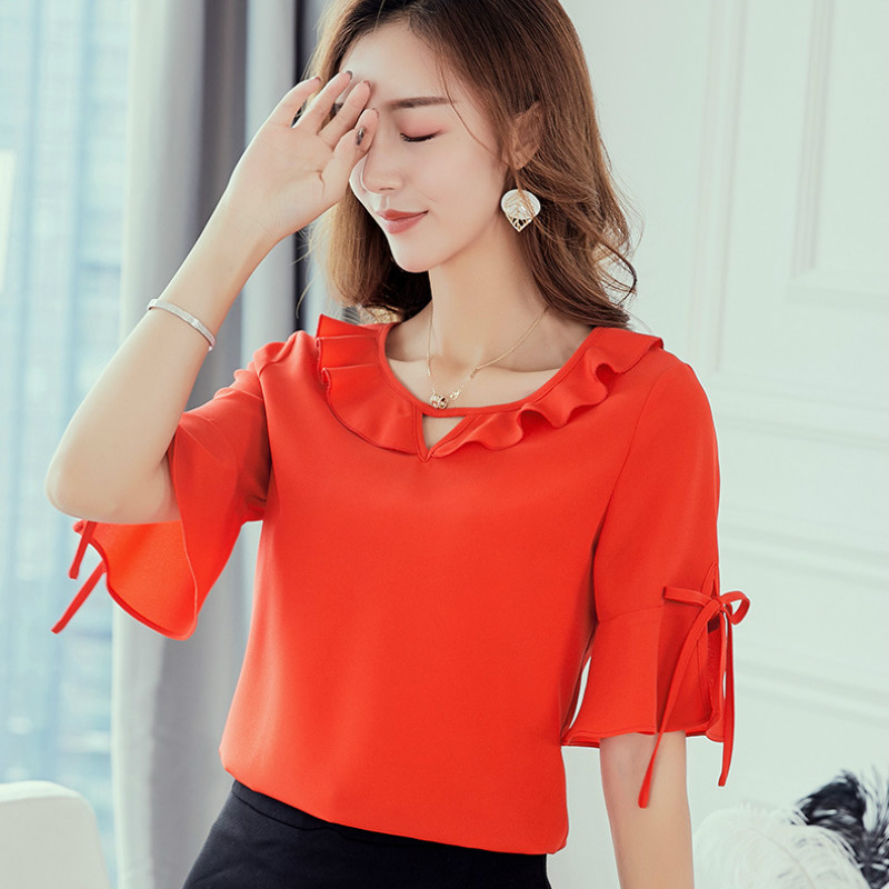 New 2019 Women Korean   Blouses   Women's Spring Summer   Shirts   Fashion Causual Chiffon   Blouse   Womens Tops Red   Shirt   Plus Size Blusas