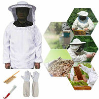 4pcs Beekeeping Suit Coat Pull Over Bee Protective Suit Clothing Smock with Veil J Hook Hive Set, Gloves, Bee Brush Tool Equip
