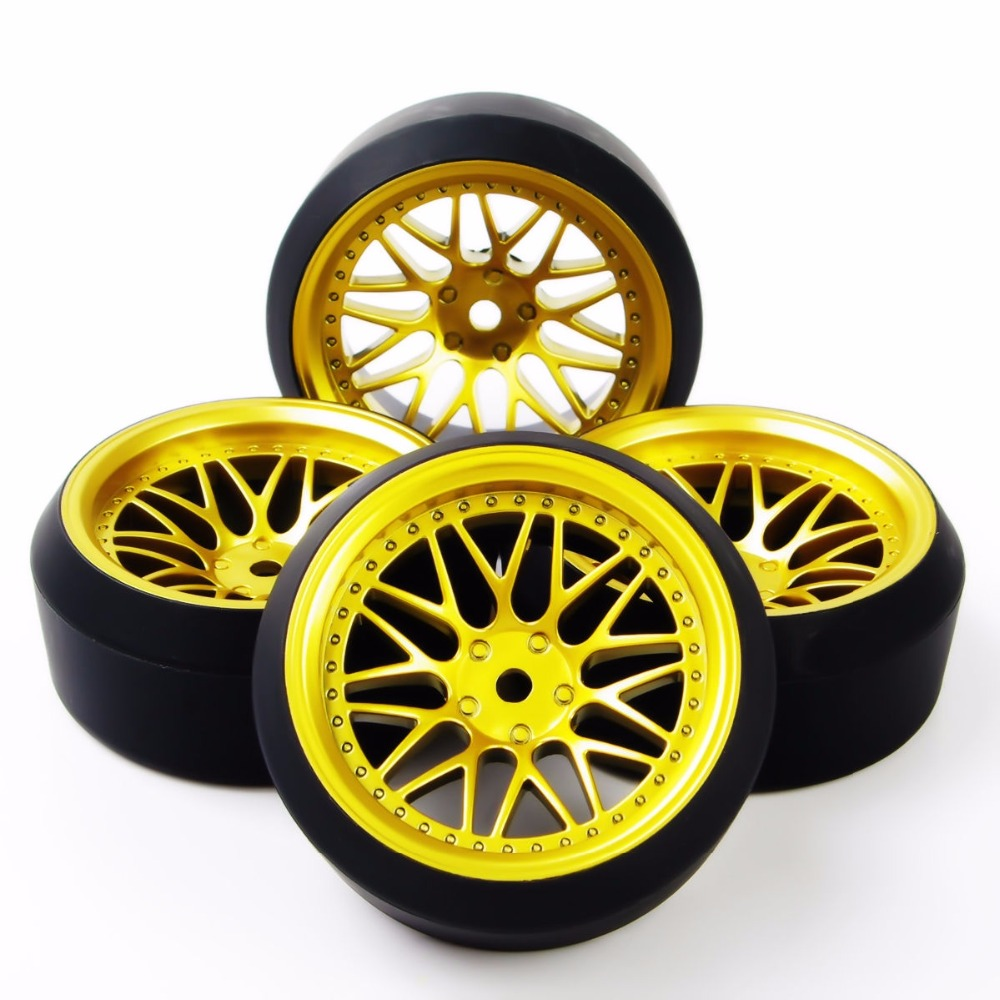 4PCS 5 Degrees Tires Tyre and Wheel Rim For HPI 1:10 RC Dirft Speeed Model Car