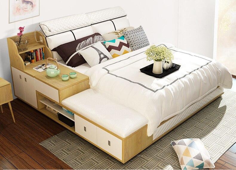Genuine leather bed frame Modern Soft Beds with storage drawer Home Bedroom Furniture cama muebles de dormitorio / camas quarto