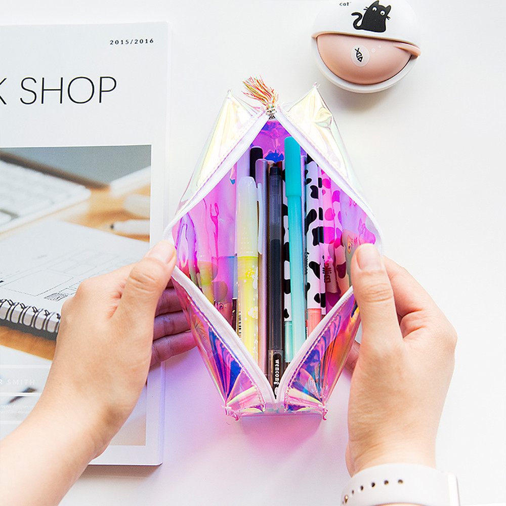 Supply Laser Pencil Pen Case Cosmetic Makeup Bag Storage Pouch Purse For School Children Boys Girls Storage Bag New High Quality Clear-Cut Texture Home & Garden