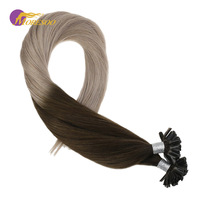 Moresoo U Tip Hair Extensions Keratin Remy Hair Extenions Color #4 Brown Fading to #18 Ash Blonde Human Hair Extensions 50g