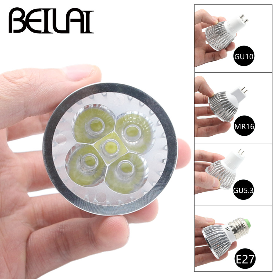 BEILAI 10PCS Dimmable <font><b>LED</b></font> Lamp E27 220V 110V GU10 <font><b>LED</b></font> Spotlight <font><b>3W</b></font> 4W 5W 85-265V MR16 <font><b>12V</b></font> Lampada <font><b>LED</b></font> Bulbs GU5.3 Home Lighting image