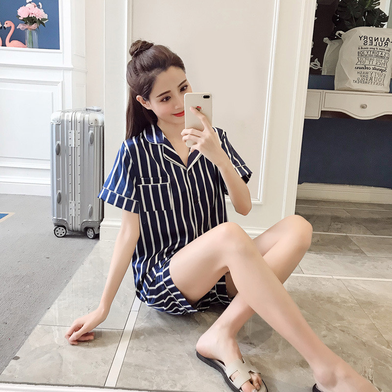 Women   Pajamas     Set   Summer   Pajamas     Set   Women Short Sleeve Top and Shorts Two Piece Suit Spring Female Lace Nightwear Sleepwear