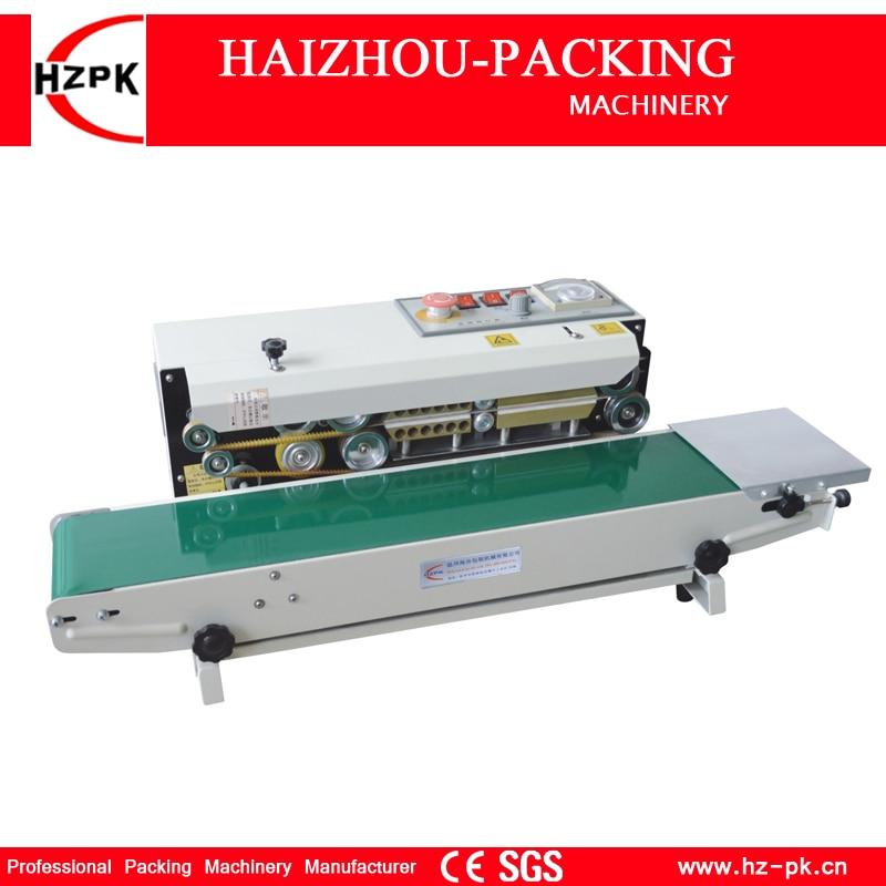 HZPK Continuous Sealing Machine 60mm Deep Sealing Type Horizontal Stainless Steel Good Motor Iron Gear Seal For Handheld Bag 800
