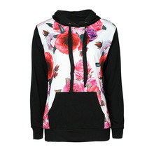 Women Fashion Flowers Printing Pink Black Hoodie Pullover Sw