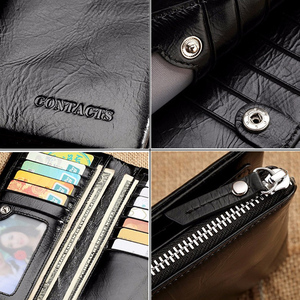 Image 5 - CONTACTS 2020 New Classical Genuine Leather Wallets Vintage Style Men Wallet Fashion Brand Purse Card Holder Long Clutch Wallet