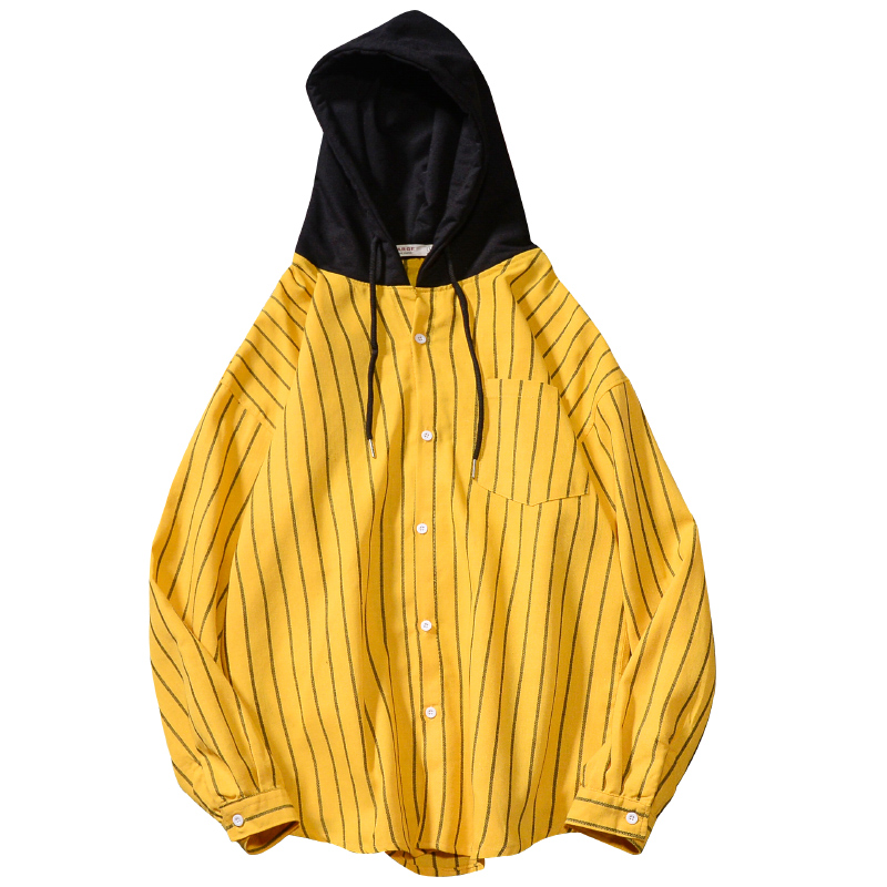 Hooded Plaid Korean Flannel Striped Casual Long Sleeve Shirt Men Fashion Loose Slim Fit Social Youth Cotton High Quality  Yellow