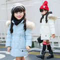 New 2017 Winter Jackets For Girls Clothes Children Clothing Kids Clothes Fur Collar Hooded Thick Warm Winter Coat 3 colors 2-15Y