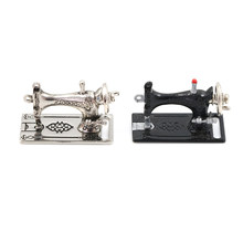 Doll House Miniature Furniture Accessories 1/12 Dollhouse Black Silver sewing machine toys gift for kids child girls(China)
