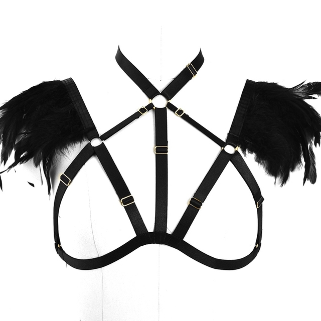 7b3ba0ed996ae Feather Epaulettes for Women Bondage Shoulder Wings Harness Plus Black Goth  Erotic Rave Burning Man Dance Fetish Cosplay Wear