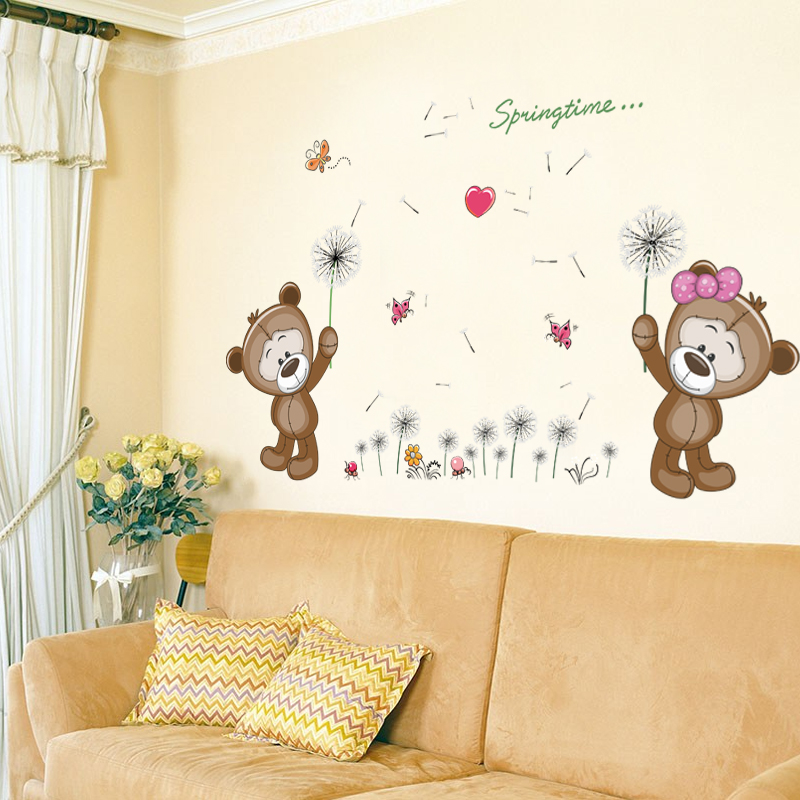 Zs Sticker Brown Bears Wall Sticker For Kids Room Home