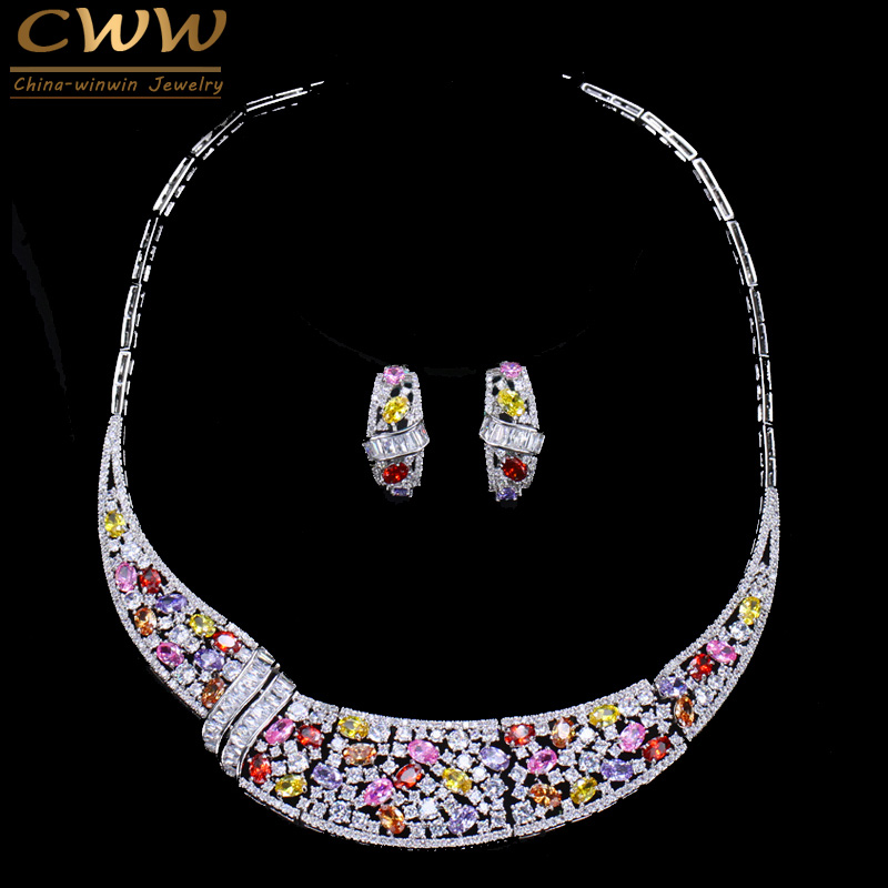 CWWZircons Brand Multi Color Cubic Zirconia Elegant Choker CZ Wedding Party Women Necklace Earrings Jewelry Sets