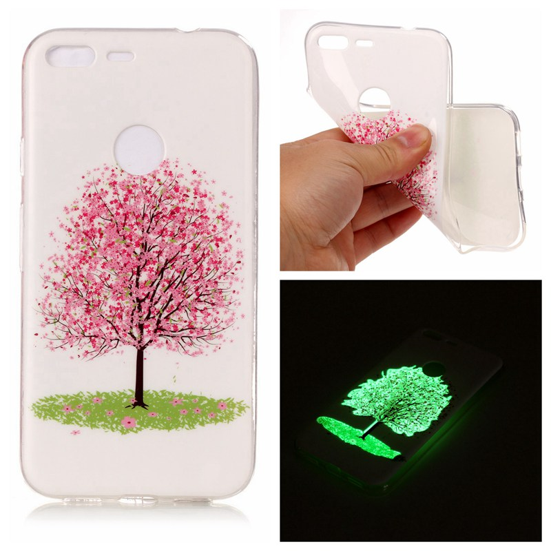Cherry Tree Luminous TPU Soft Silicon Case Cover For Google Pixel XL