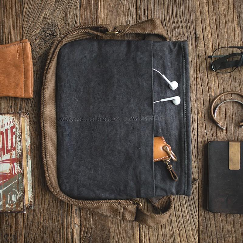 Maden Men's Waxed Canvas Messenger Bag Travel School Work Tools Crossbody Bag