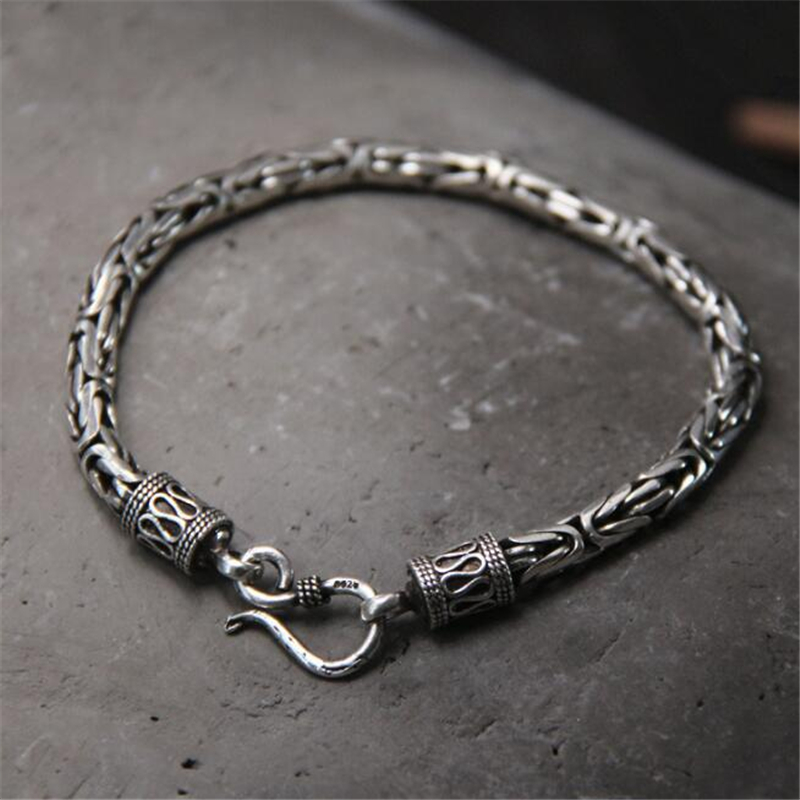 купить Genuine 100% Real Pure 925 Sterling Silver Men Bracelet Fashion Punk Style Thai Silver Bangle Bracelets Men Jewelry S Clasp по цене 3344.8 рублей