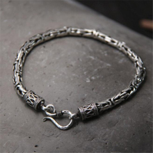 Genuine 100% Real Pure 925 Sterling Silver Men Bracelet Fashion Punk Style Thai Bangle Bracelets Jewelry S Clasp