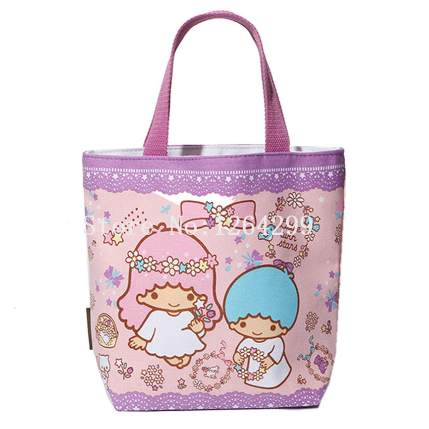 new fashion little twin stars girls woman small zipper canvas handbags kids lunch bags for. Black Bedroom Furniture Sets. Home Design Ideas