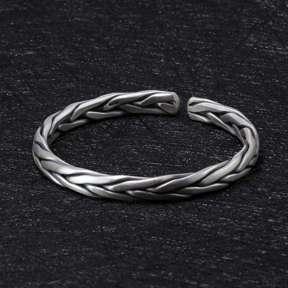 Heavy Solid 999 Pure Silver Twisted Bangles Mens Sterling Silver Bracelet Vintage Punk Rock Style Armband