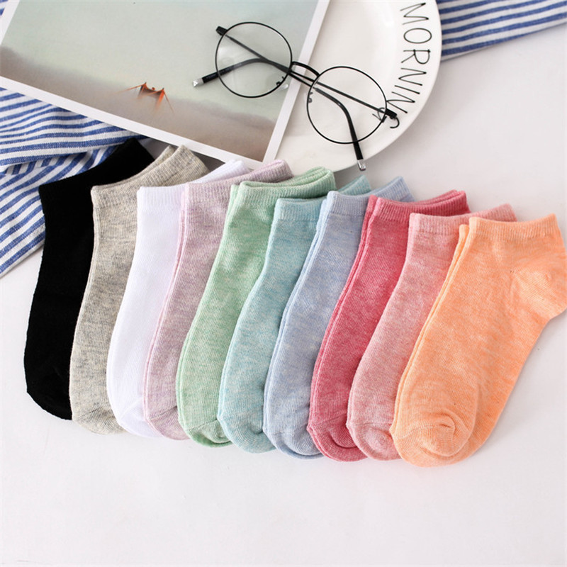 Casual   Socks   Women Cotton Candy Color Short   Socks   Breathable And Sweat-absorbing Work Out Female   Socks