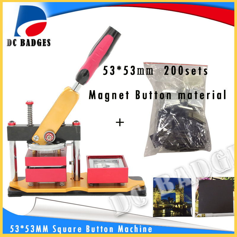 53*53mm Square magnetic button badge Press  Machine  including mould with 200sets magnet button material machine set