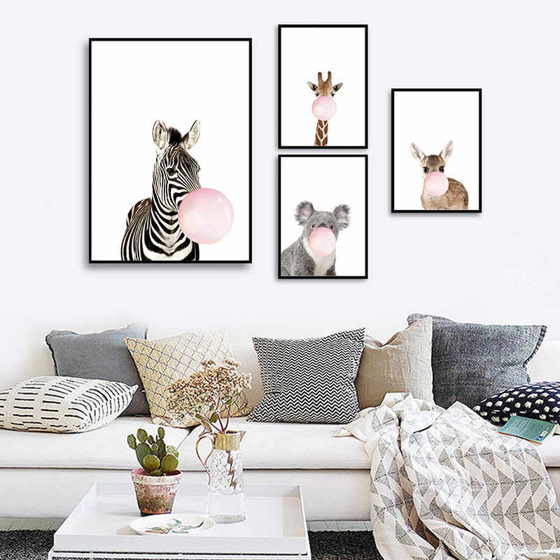 Fashion Bubble Chewing Gum Giraffe Zebra Posters Canvas Art Painting Wall Stickers Decorative Picture Nordic Style Kids Decor