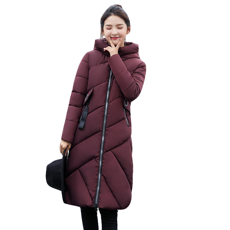 2017 New Arrival Winter Jacket Women Long Warm Down Cotton-padded Hooded Parkas Loose Style Casual Thicken Warm Coat CM1459 2017 cheap women winter jacket down cotton padded coats casual warm winter coat turn down large size hooded long loose parkas