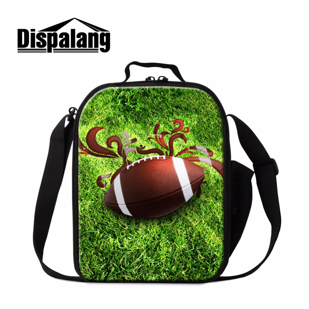 Dispalang Footbally Lunch Bags for Boys Childrens Meal Bags Shoulder Lunch Box Bag cooler bags Basketbally Lunch Container Kids