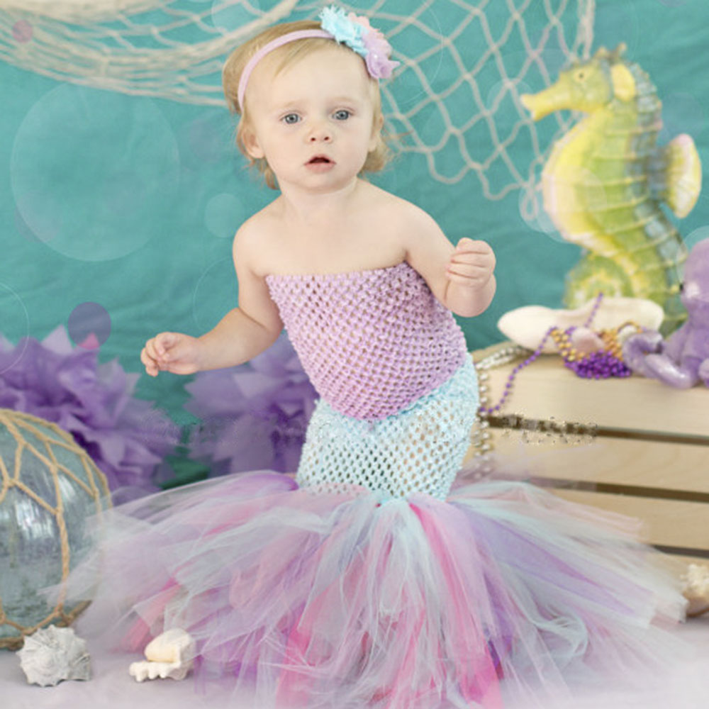 be8910e14 Cartoon Princess Baby Girls Halloween Tutu Dress The Little Mermaid ...