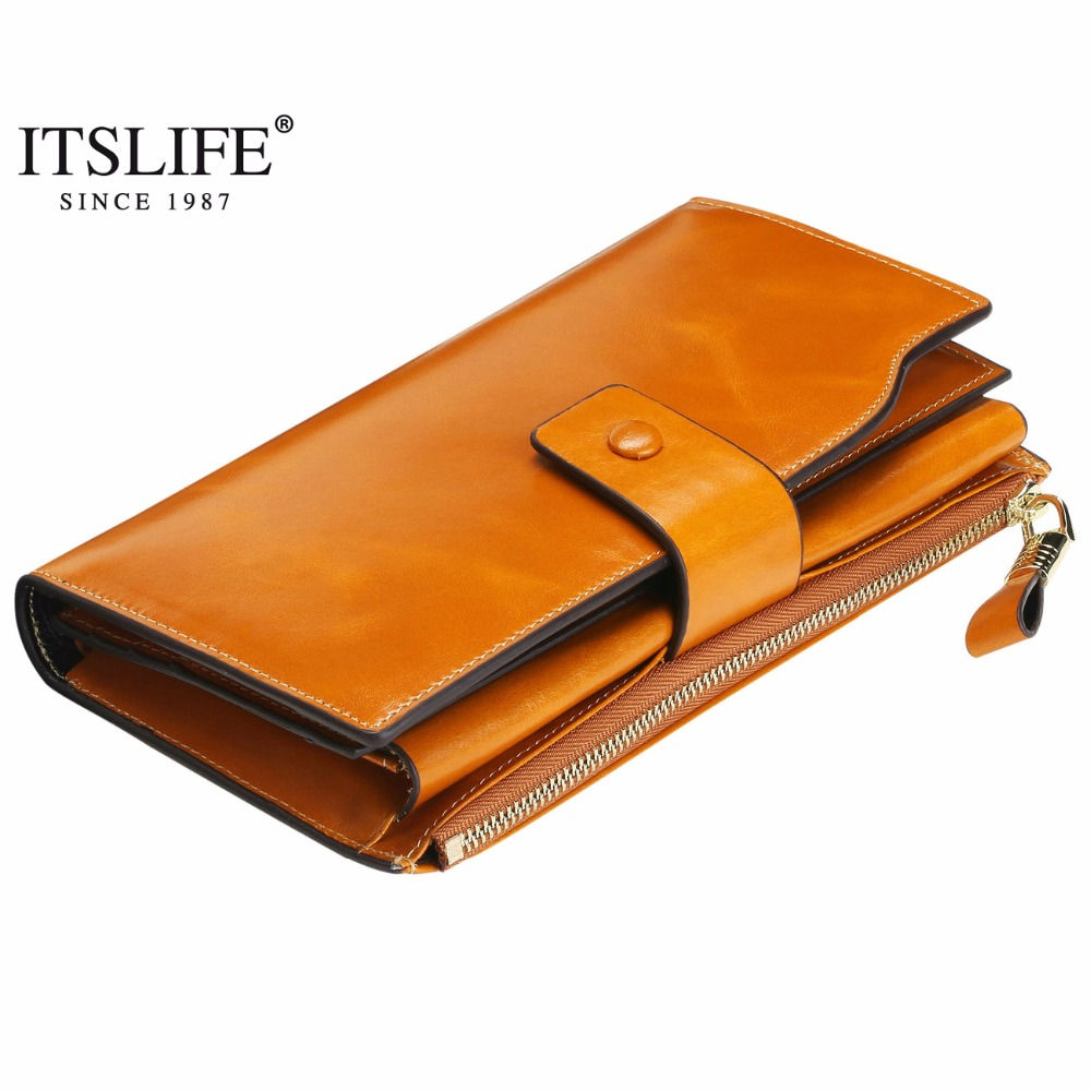 2018 Itslife Women's RFID Blocking Large Capacity Luxury Wax Genuine Leather Clutch Wallet Card Holder Organizer Ladies Purse