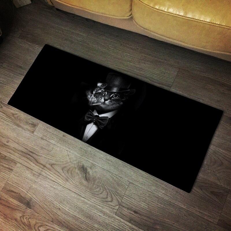 Fumer chat tapis noir longues bandes tapis de sol cuisine chambre absorber l'eau tapis anti-dérapant