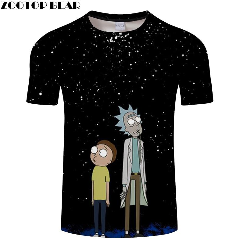 Digital Rick And Morty 3D Print t shirt Men Women tshirt Summer Anime Short Sleeve O-neck Tops&Tees Black Drop Ship ZOOTOP BEAR
