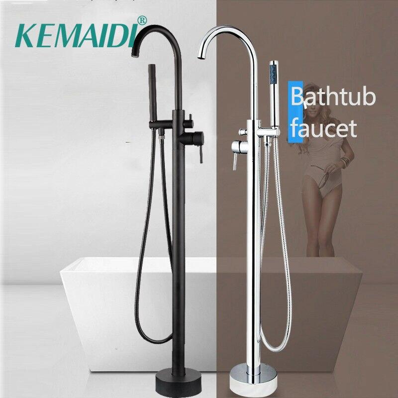 Kemaidi piso montado banheira filler chuveiro roman torneira da banheira conjunto de pé livre preto banheira bico redondo banho misturadora