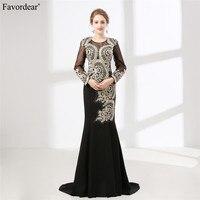 Favordear новое поступление черный торжественное платье золото Кружево бисером мусульманских длинный рукав матери невесты платье Лидер продаж