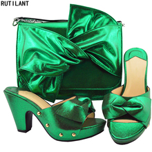 New Arrival Ladies Italian Shoes and Bag Set Decorated with Rhinestone Nigerian Women Wedding Shoes and Bag Set Woman Shoes Bag