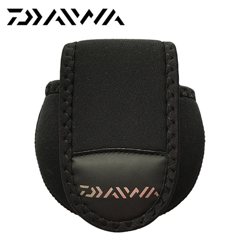 Daiwa horgász tekercses zsák 12cm * 11cm védőburkolat öntőorsó Horgászorsó kültéri sporttáskák Táskák horgászat fekete táska
