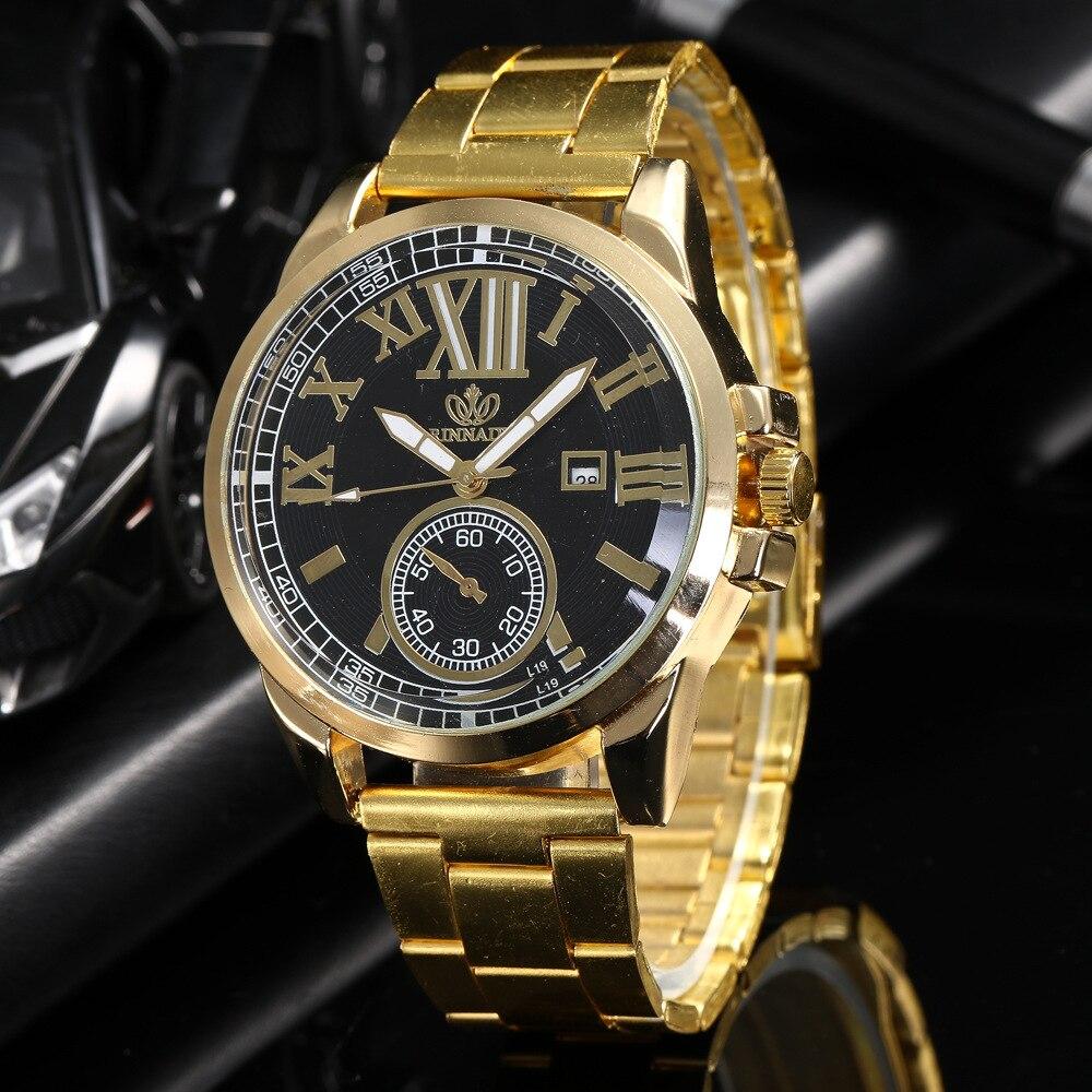 Ny!! Män rostfritt stål guld klocka lyx märke automatisk datum man - Herrklockor