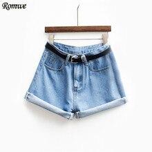 Romwe женщин марка новые весна короткая джинсы марка средний талия джинсовые синяя кнопка лететь с карманами и пояса манжетами шорты