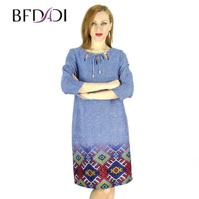 BFDADI 2016 осень - зима модное европейское женское в стиле тонкий платье ажурный воротник плед печать свободного покроя платья большого размера 7-8342