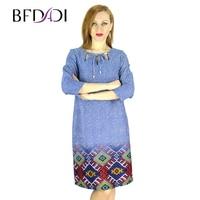 BFDADI 2017 Spring Fashion Style Women Slim Dress Openwork collar Plaid Print Casual Dresses Vestidos Plus Size 7-8342