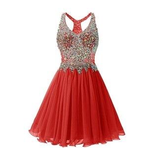 Image 3 - ANGELSBRIDEP v yaka mezuniyet elbiseleri seksi diz üstü kokteyl elbise moda artı boyutu kristal boncuklar Mini 8th sınıf parti törenlerinde