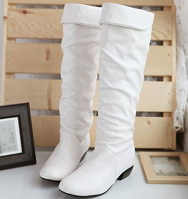 9764f69f4 Spring and autumn women's singles boots knee high boots flat boots  low-heeled white boots Martin boots Korea